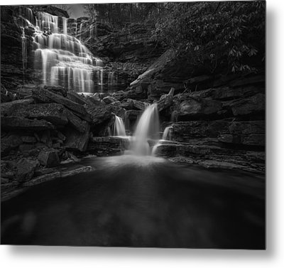 Sheldons Falls Black And White Metal Print by Bill Wakeley