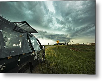 Metal Print featuring the photograph Shelf Cloud Near Vibank Sk. by Ryan Crouse