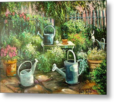 Shelley's Garden Metal Print by Sally Seago