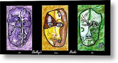 Metal Print featuring the painting Shelleys Mask Split Broken Alive by Shelley Bain