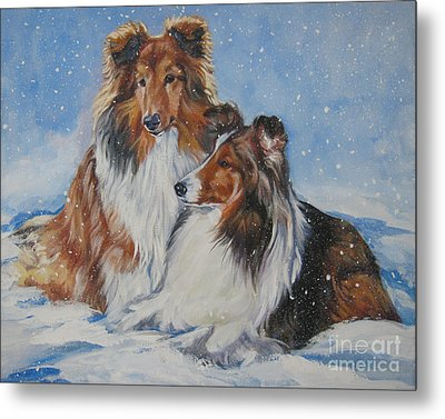 Sheltie Pair Metal Print by Lee Ann Shepard