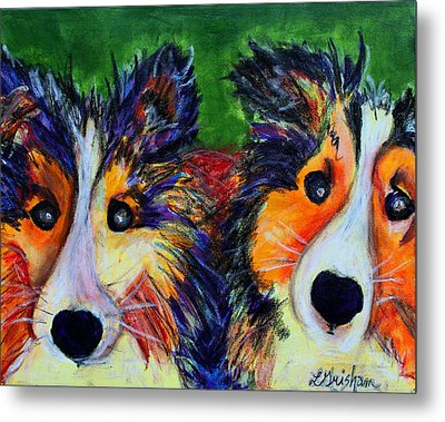 Metal Print featuring the painting Sheltie- Whisper And Secret by Laura  Grisham
