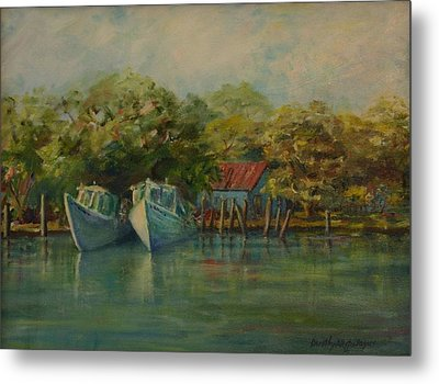 Shem Creek Boats Metal Print by Dorothy Allston Rogers