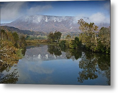 Shenandoah River South Fork - Snow On The Mountains - Virginia Metal Print