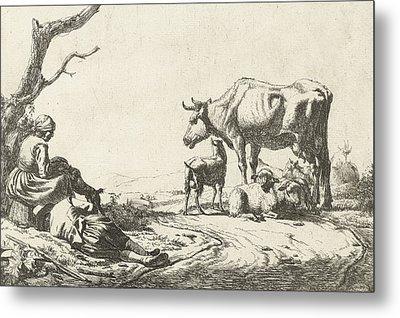Shepherd And Shepherdess With Cattle Metal Print