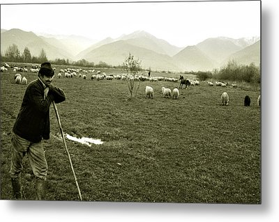 Shepherd In The Carpathians Mountains Metal Print by Emanuel Tanjala