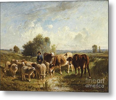 Shepherd With His Sheep Metal Print by Celestial Images