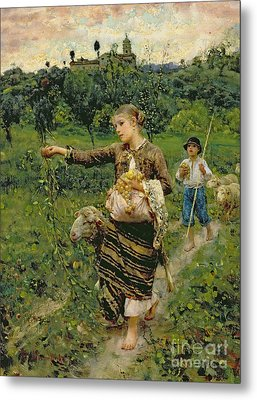 Shepherdess Carrying A Bunch Of Grapes Metal Print by Francesco Paolo Michetti