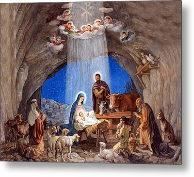 Shepherds Field Nativity Painting Metal Print by Munir Alawi