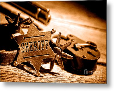 Sheriff Tools - Sepia Metal Print by Olivier Le Queinec