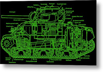 Metal Print featuring the drawing Sherman M4a4 Tank by Robert Geary