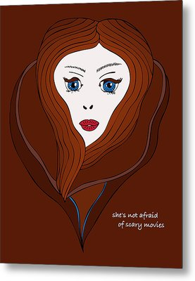 Metal Print featuring the drawing She's Not Afraid Of Scary Movies by Frank Tschakert
