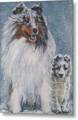Shetland Sheepdogs In Snow Metal Print by Lee Ann Shepard