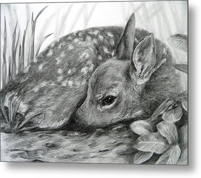 Metal Print featuring the drawing Shhhhh... by Meagan  Visser