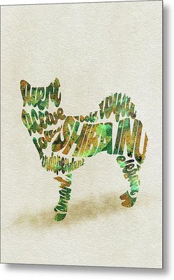 Metal Print featuring the painting Shiba Inu Watercolor Painting / Typographic Art by Inspirowl Design