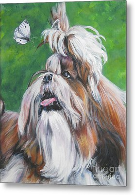 Shih Tzu And Butterfly Metal Print by Lee Ann Shepard