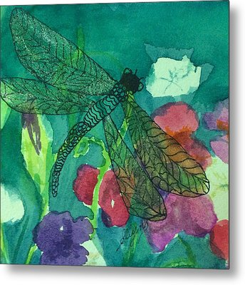 Shimmering Dragonfly W Sweetpeas Square Crop Metal Print