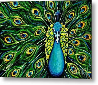 Shimmering Feathers Of A Peacock Metal Print by Elizabeth Robinette Tyndall