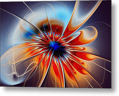 Shining Red Flower Metal Print