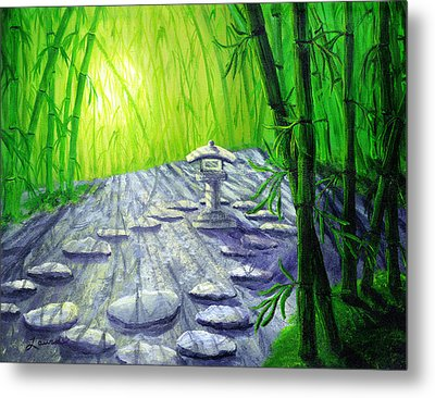 Shinto Lantern In Bamboo Forest Metal Print by Laura Iverson