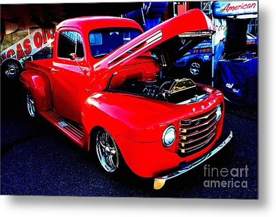 Shiny Red Ford Truck Metal Print by Natalie Ortiz