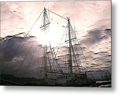Metal Print featuring the photograph Ship And Sun by Yury Bashkin