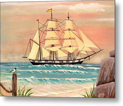 Ship At Sea Metal Print by Eileen Blair