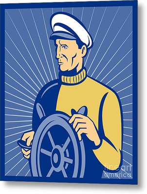 Ship Captain At The Helm  Metal Print by Aloysius Patrimonio