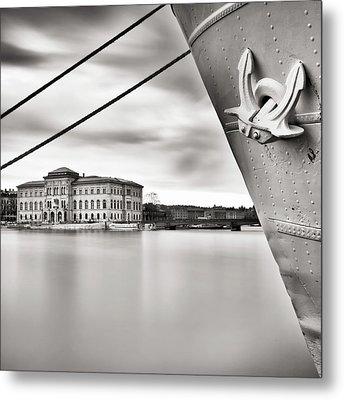 Ship With Anchor In Harbor Metal Print by Peter Levi