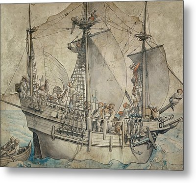 Ship With Revelling Sailors Metal Print by Hans Holbein the Younger