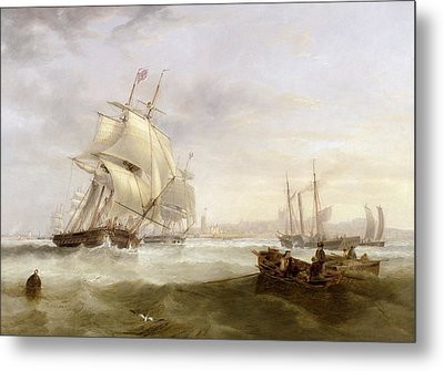 Shipping Off Hartlepool Metal Print by John Wilson Carmichael