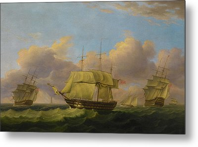 Shipping Off The Eddystone Metal Print by Thomas Luny
