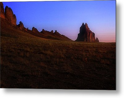 Metal Print featuring the photograph Shiprock Under The Stars - Sunrise - New Mexico - Landscape by Jason Politte
