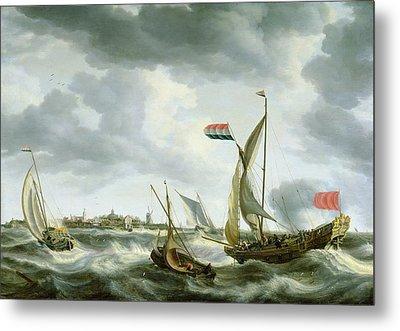 Ships At Sea  Metal Print by Bonaventura Peeters