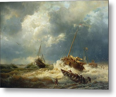 Ships In A Storm On The Dutch Coast Metal Print by Andreas Achenbach