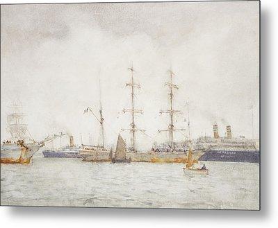 Ships In Harbor Metal Print by Henry Scott Tuke