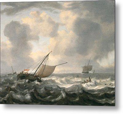 Ships On A Choppy Sea Metal Print by Hendrik van Anthonissen