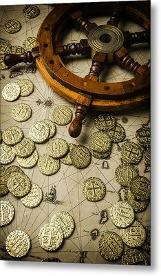Ships Wheel And Gold Coins Metal Print