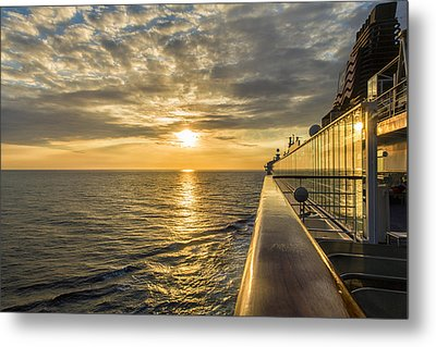 Shipside Sunset Metal Print by Bill Tiepelman