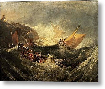 Metal Print featuring the painting Shipwreck Of The Minotaur by J M William Turner