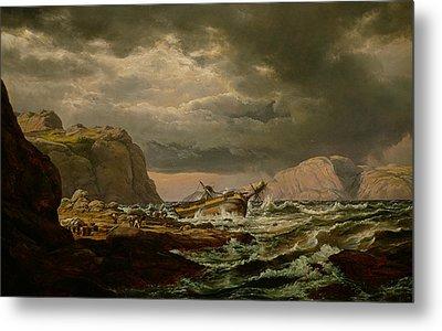 Shipwreck On The Coast Of Norway Metal Print by Johan Christian Dahl