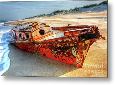 Shipwrecked Boat On Outer Banks Front Side View Metal Print by Dan Carmichael