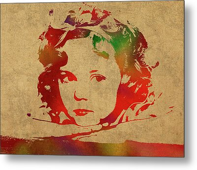 Shirley Temple Watercolor Portrait Metal Print by Design Turnpike