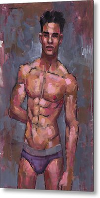 Shirtless On Grey Background Metal Print