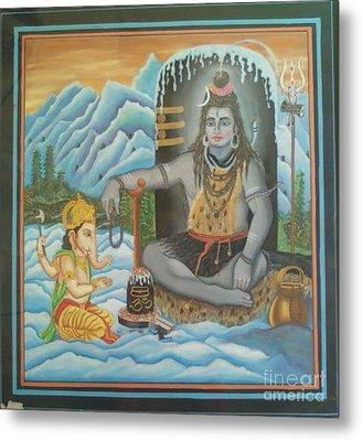 Shiv Ji Nd Ganesh Ji Metal Print by Ravi Kumar