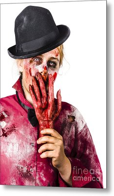 Shocked Zombie Holding Severed Hand. Dead Silence Metal Print by Jorgo Photography - Wall Art Gallery