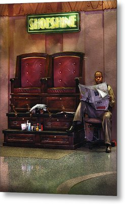 Shoes - Lee's Shoe Shine Stand Metal Print by Mike Savad