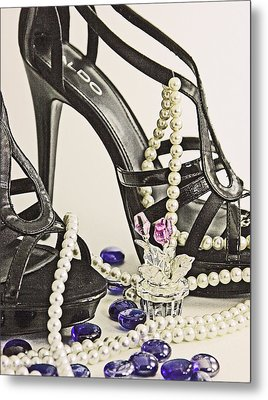 Shoes And Pearls Metal Print