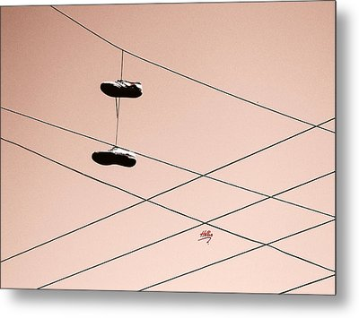 Metal Print featuring the photograph Shoes On A Wire by Linda Hollis