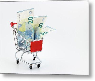 Shopping Cart With Euro Banknotes Metal Print